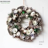 D14.5 Home Door Wreath Christmas Wreath Navidad Decoration Christmas Decorations for home Natal 2018 Lights Pinecone Wreath