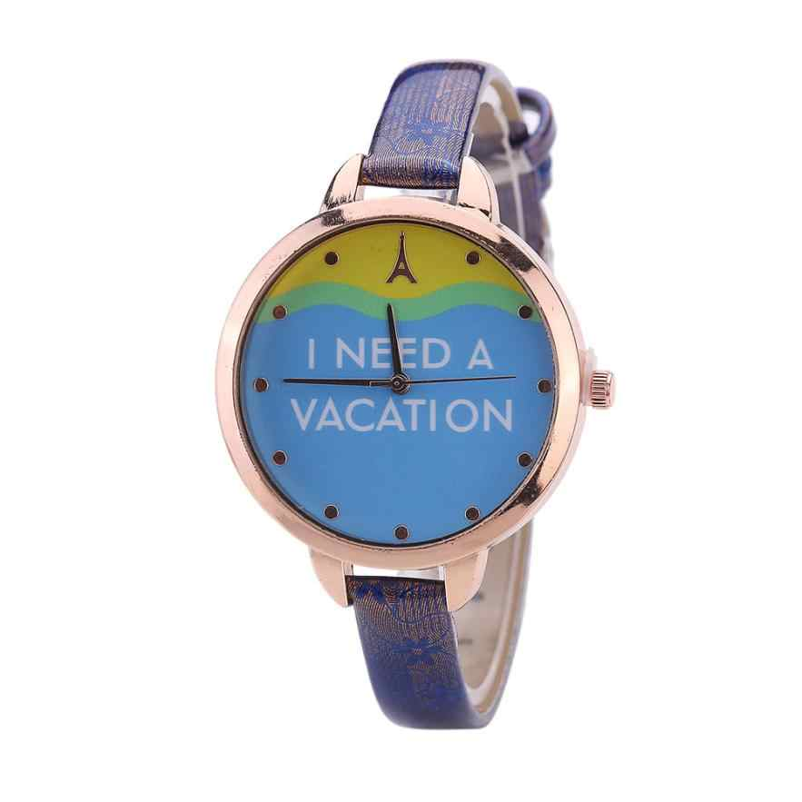 Watches Women Fashionable Casual I NEED A VACATION Pattern PU Leather Strap Quartz Analog Gifts