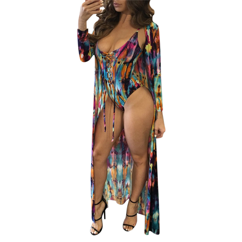One-Piece Suit + Cover Up Set Sexy Women Swimwear Dress Cover-ups Beach Bikini Cover Ups Swimsuits Vestido la blanca women s printed cover ups