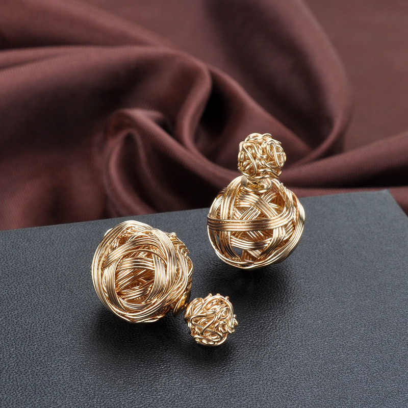 Fashion Unique Weave Ball Shape Stud Earring For Women Girls New Design 3 Colors Silver gold Earring Jewelry Christmas orecchini
