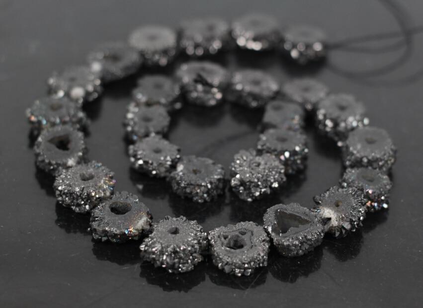 AAA Grade 15.5Strands Black Titanium Druzy Quartz Geode Flower Beads,Raw Crystal Drusy Slab Round Pendant Beads Jewelry Making