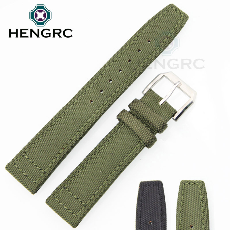 Nylon And Leather Watchbands 20mm 22mm Black Green Watch Band Strap Wrist Bracele Stainless Steel Metal Needle Buckle Clasp