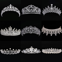Diverse Silver Crystal Bride Tiara Crown Fashion Pearl Queen Wedding Crown Headpiece Wedding Hair Jewelry Accessories