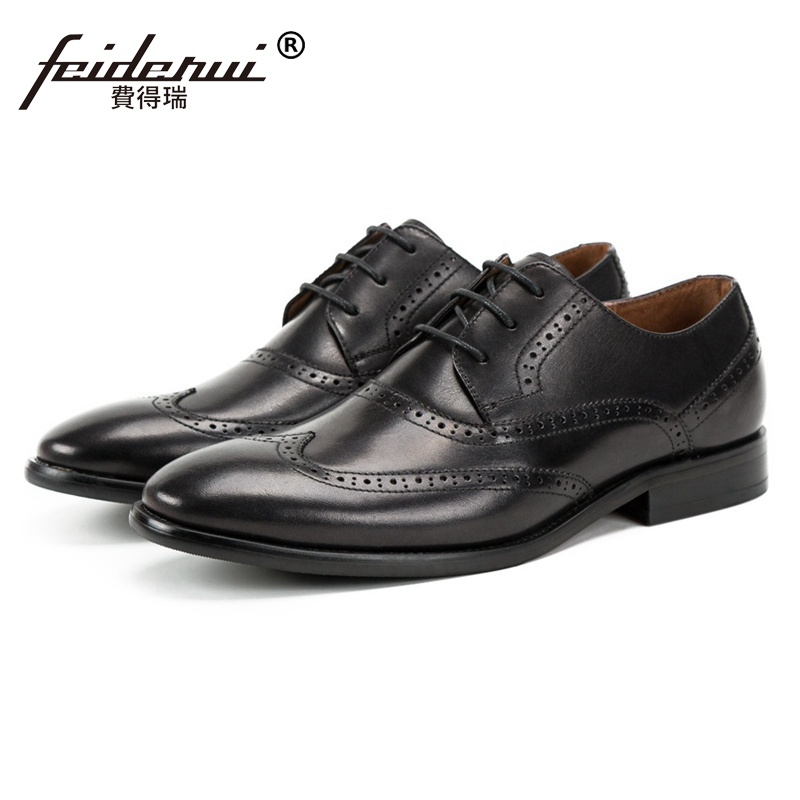 Luxury Round Toe Derby Man Formal Dress Wingtip Brogue Shoes Genuine Leather Carved Men's Handmade Wedding Party Footwear SS227 комбинезон утепленный детский huppa beata 1 цвет бордовый 31930155 80034 размер 92