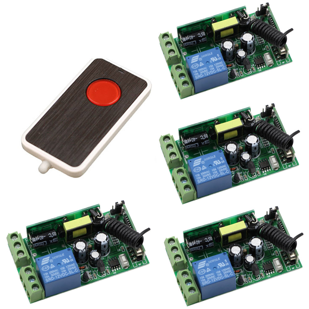 AC 85V 220V 110V 250V 1CH 10A Radio Controller RF Wireless Remote Control Switch Transmitter+4*Receivers For Electric Curtain