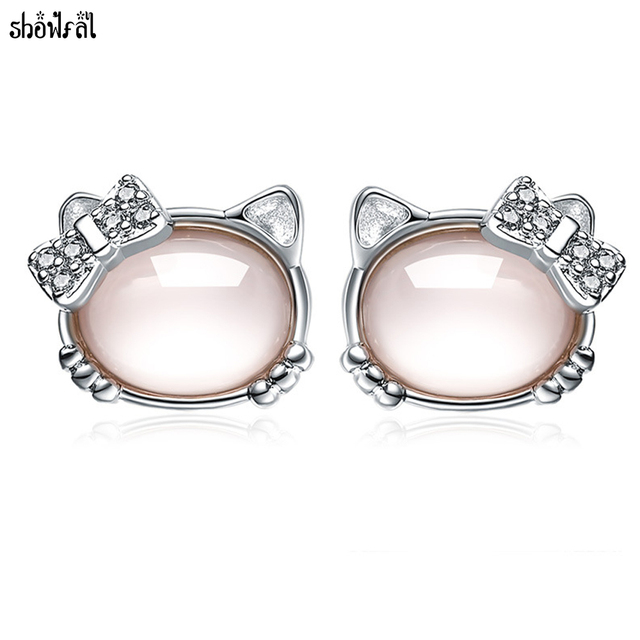 ac5c0c03c Crystals From Swarovski Cute Cat Opal Stud Earrings Stones Luxury Pink  Furong Hello Kitty Earring For Women Jewelry Brincos