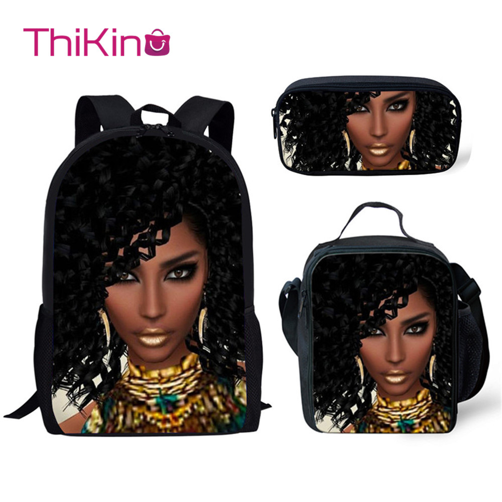 Thikin African American Cool Girl 3Pcs School Bags Children Book Bag for Girl School Backpack for Teen Boys Girls Kids Book Bags in Backpacks from Luggage Bags