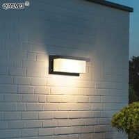 Lámpara led de pared impermeable para decoración de jardín exterior, candelabro de iluminación para puerta delantera, luminaria de AC85-260V, accesorio de pantalla negro