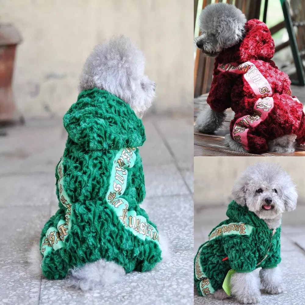 Fit Russia Winter Dog Clothes Rose Velvet Fur Coat Design Clothes