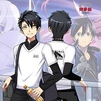 Fashion Men's Long Sleeve T shirt Anime SAO Sword Art Online Logo Print Spring Autumn Student Fake Two Pieces Shirt T shirt Tops