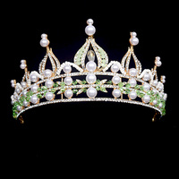 Luxury Baroque Green Crystal Bridal Crown Headband Handmade Wedding Hair Vine Tiara Vintage Headpiece Bridal Gold