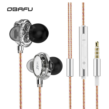 WRZ X7 Double Moving Coil Unit HIFI Music DIY Movement In-Ear Heavy Bass Earphone Sport With Mic Headset For Iphone For Xiaomi magnetic attraction bluetooth earphone headset waterproof sports 4.2