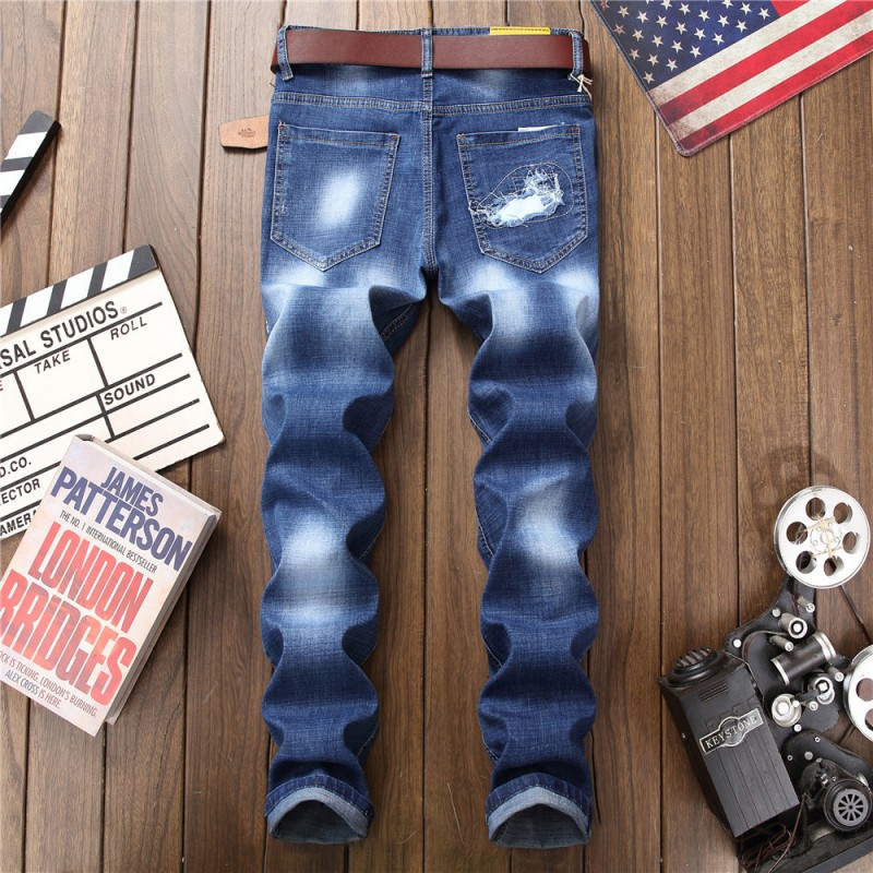 Menswear 2018 Korean Fashion Motorcycle Straight Full Length Hip Hop Pants Distressed Badge Pattern Letter Patchwork Trouser Man