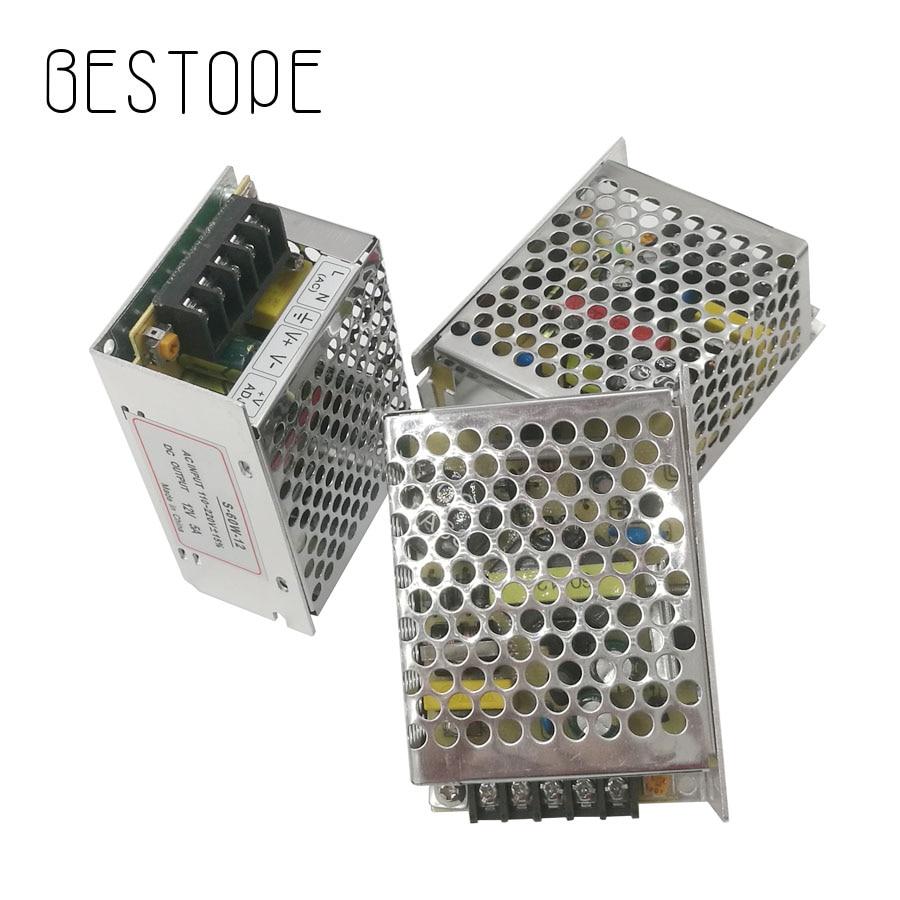 BESTOPE LED-strömförsörjning 5A 60W LED-drivadapteradapter som växlar 110V 220V till 12V transformator för LED-band