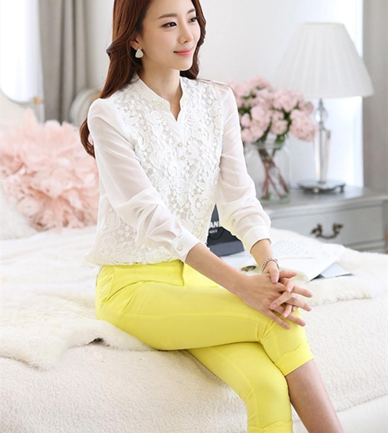 fbef63d5898 Хороший новый Vogue кружевная блузка Бисер крючком белый Популярные длинным  рукавом шифоновая рубашка женственный доход плюс