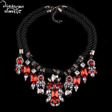 Dvacaman 2016 Flower Shourouk Pendant Necklace Women Rhinestone Tassel Statement Necklace Vintage Rope Chain Choker Necklace A26