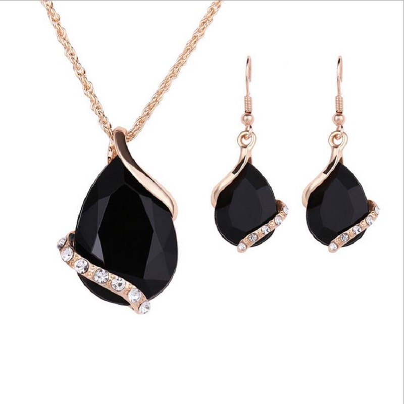 LAQ Necklaces-Sets Wedding-Jewelry Crystal-Earrings Women Black Geometric for Gold-Color