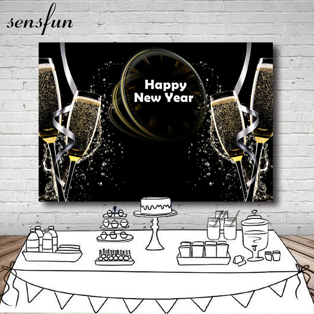 photography backgrounds for happy new year 2019 black gold glitter champagne backdrop for photo studio customized