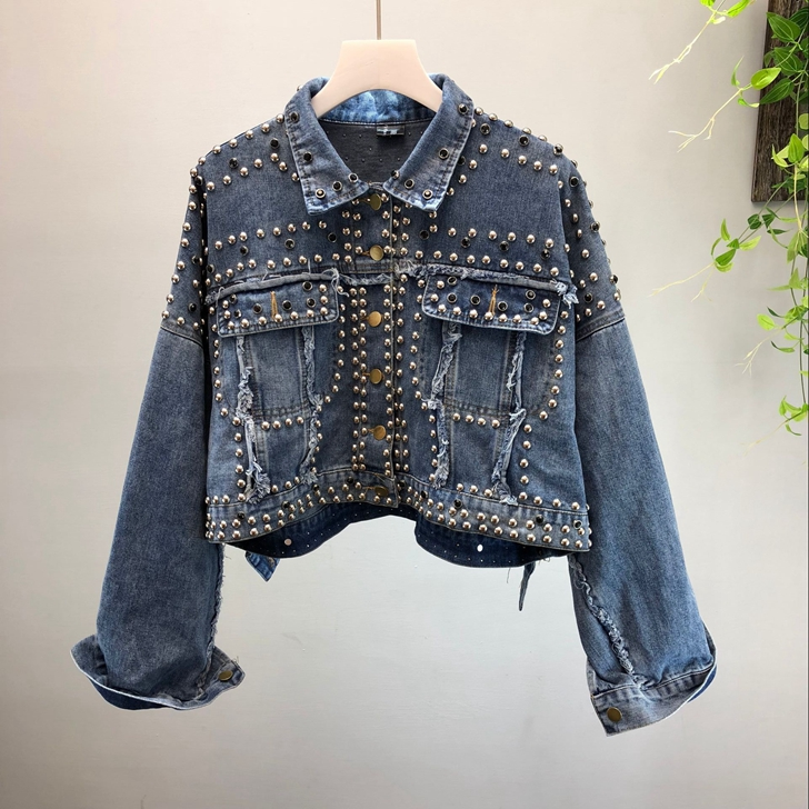 High Quality Short Denim Jeans   Jacket   Coat Women Autumn New Fashion Handmade Rivet Beaded Jeans Coats Girls Lady   Basic     Jackets