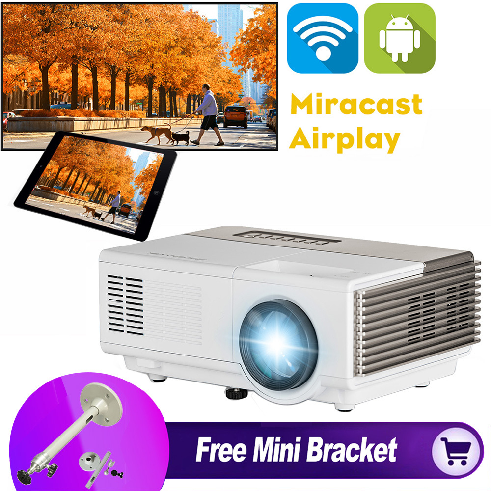 CAIWEI 1080p HD WiFi projector Led Mini Projector Android Digital TV Projector for Mobile Phone with Free Mini Ceiling Bracket