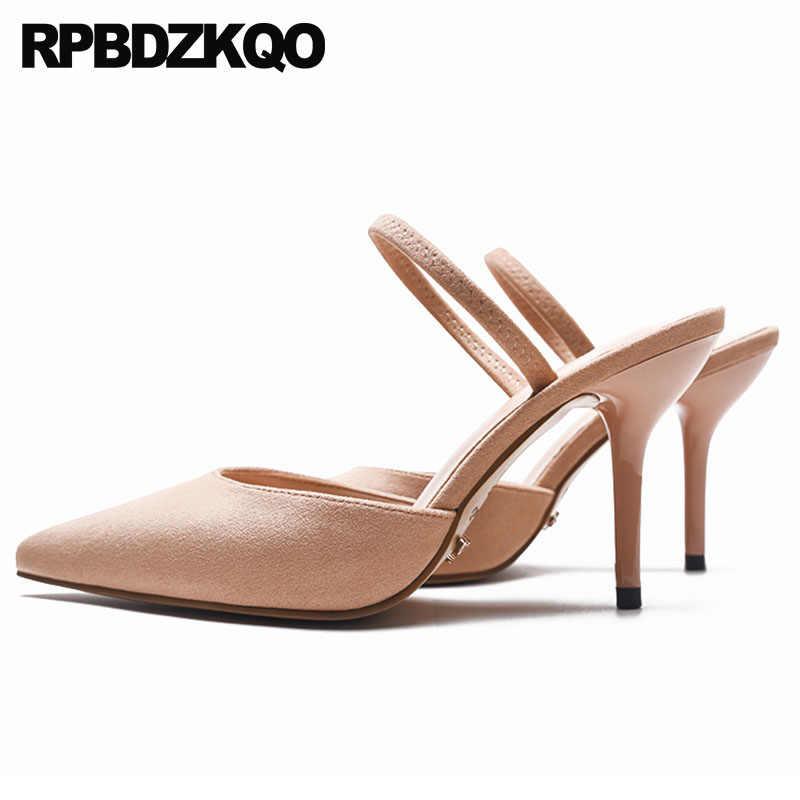 93e54a07b0e Mules Slipper Stiletto Suede Kitten Strap Turquoise Blue Shoes Women ...