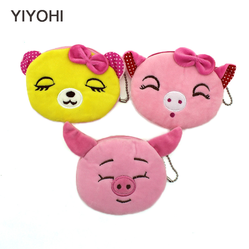 YIYOHI New Kawaii Cartoon Pig/Koala Children Plush Coin Bag Purse Girls Zipper Change Purse Wallet Kids Girl Women For Gift new 2016 cartoon cute minions dave bob plush coin change purse zipper mini children bag women wallets girl for christmas gift