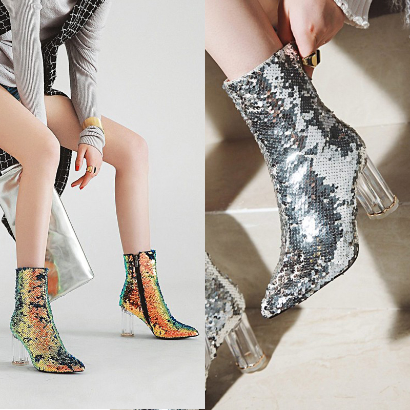 Europe and America sexy pointed crystal with ankle boots female autumn and winter sequin dress banquet Martin boots high heels.