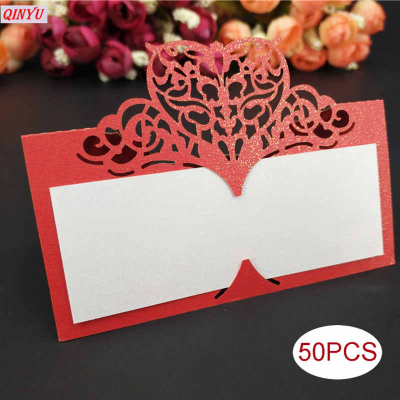 New 10/50/100 PCS For Wedding Cards Wedding Party Decoration Favor Laser Cut Heart Shape Table Name Card Place Card 6Z SH871-50