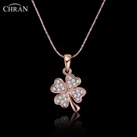 CHRAN Charming Gold Color Flower Necklace Party Jewelry Promotion Fashion Cubic Zirconia Chain Necklace for Women