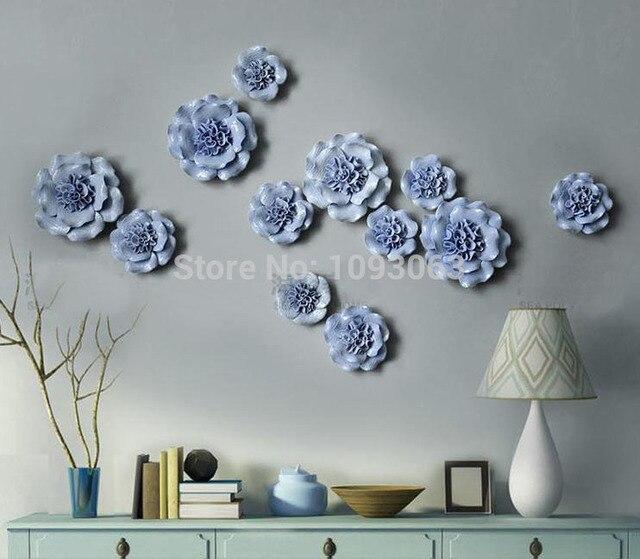 Европейском стиле Керамика цветок росписи творческий трехмерная Наклейки на стену ТВ фон декоративные настенные современный