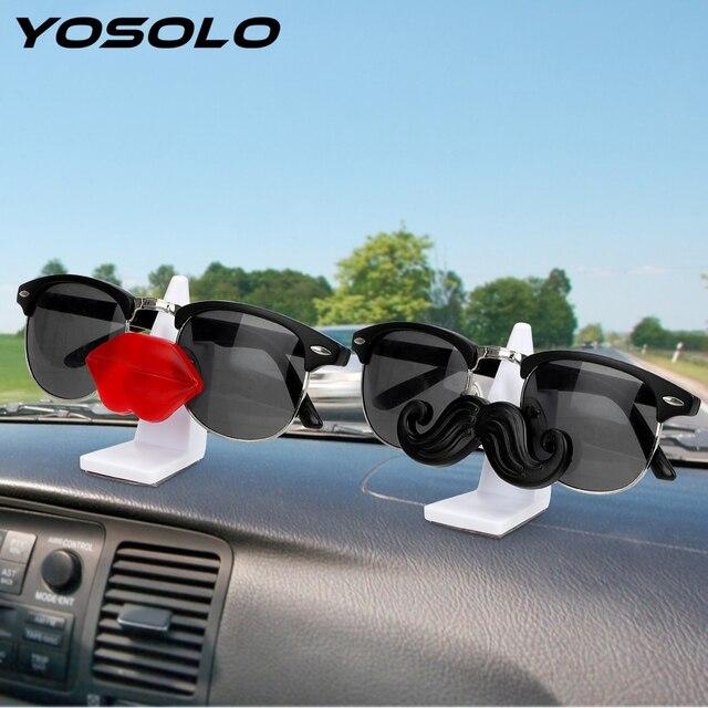 YOSOLO Car Glasses Holder Moustache Red Llips Glasses Stand Glasses Cases Sunglasses Eyeglasses Clip Ornament Auto Accessories