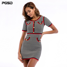 PGSD 2019 Fashion womens clothes Short sleeve Round neck coloring Knitted sweater Slim bodycon sexy Dress elegant female