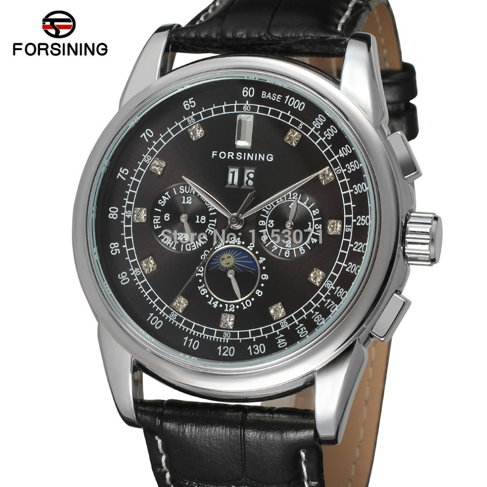 все цены на FSG319M3S34 Forsining Automatic self-wind dress men moon phase watch  black genuine leather strap free shipping with gift box онлайн