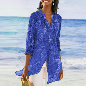 2019 Casual Chiffon Printed Button Retro Beach Dress Women Bohemia Bikini Swimwear Kaftan Beach Cover Up Saida De Praia Pareos 2