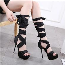 Hot Sale Roman Sandals High Heels 14cm Women Pumps Summer Classic Stilettos Slingback Strappy Gladiator Knee