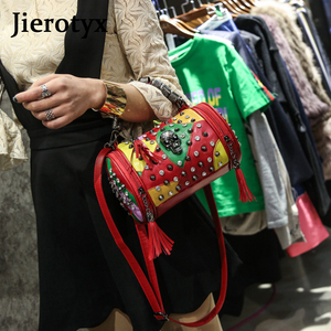 Image 5 - Сумка мессенджер JIEROTYX женская из натуральной овечьей кожи, роскошный саквояж на плечо с заклепками в стиле панк, цвет черный