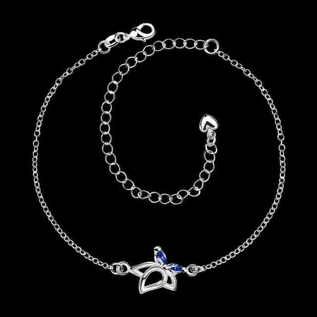 Silver Plated Anklet with Zircon Flower Charm
