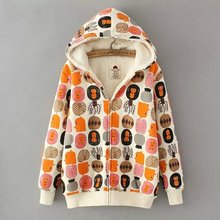 2017 New Mori Girl Monkey Embroidery Cotton Padded Jacket with A Hood Woolen Outerwear Female Autumn