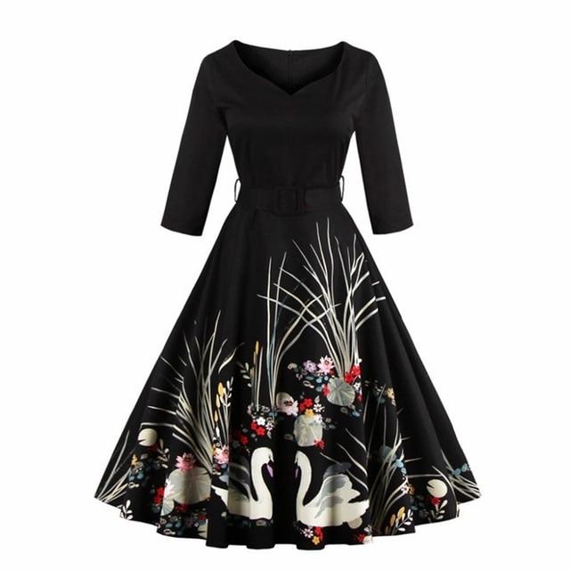 S-4XL Vintage Audrey Hepburn 50s Skater Dress Swan Print Summer 2017 Party Dresses With Belt High Waist Plus Size D76602