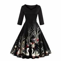 Vintage Audrey Hepburn 50s Skater Dress Swan Print Summer 2017 Party Dresses With Belt High Waist