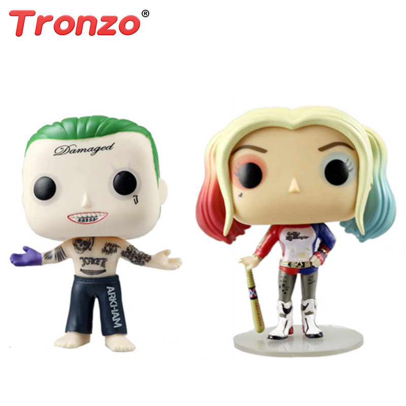 Tronzo 10cm POP Suicide Squad PVC Action Figures Harley Quinn And The Joker Doll Toys Collectible Model Birthday Gift For Boy
