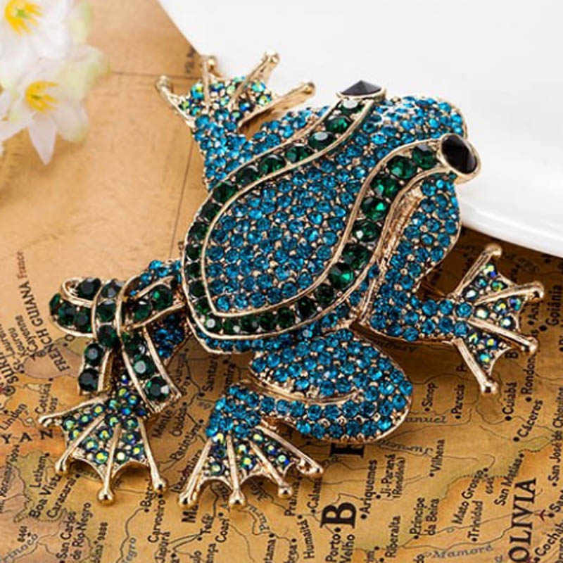 Big Size Frog Brooches Brand Vintage Brooch Men Jewelry Fashion Rhinestone Broches Broaches Women Fine Wedding Pin Broche