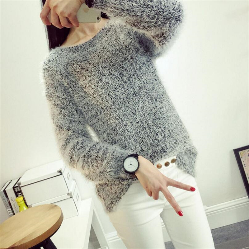 Mohair Pullover Sweaters Jumper Long-Sleeve Knitted Women Spring Tricot-Tops Female
