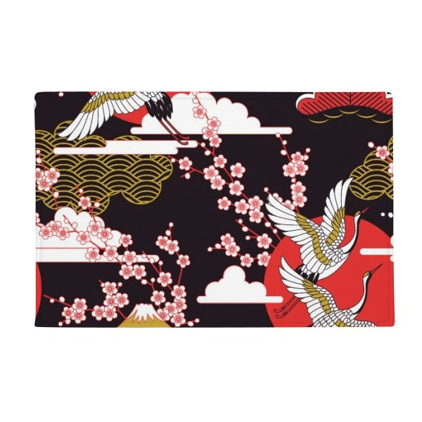 Japan Cranes Fuji Sakura Cloud Sun Anti-slip Floor Mat Carpet Bathroom Living Room Kitchen Door 16x30Gift