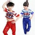 Recién Niñas Dancewear Lentejuelas Jazz Ropa de Hip Hop Street Dance Mordern Jazz Etapa Trajes Tops Pantalones de Traje para Los Niños