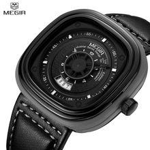MEGIR Мужчины Водонепроницаемый Повседневная Часы 3D Гравировкой Наберите Военная Спорт Новый Стиль Смотреть