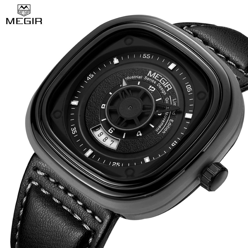 Megir Mens Waterproof Casual Watches Military Sport Black Leather Strap Square Dial Quartz Wristwatch with Calendar Date for Man megir mens watches leather strap square dial luxury quartz watch clock waterproof sport chronograph wristwatch montre for man