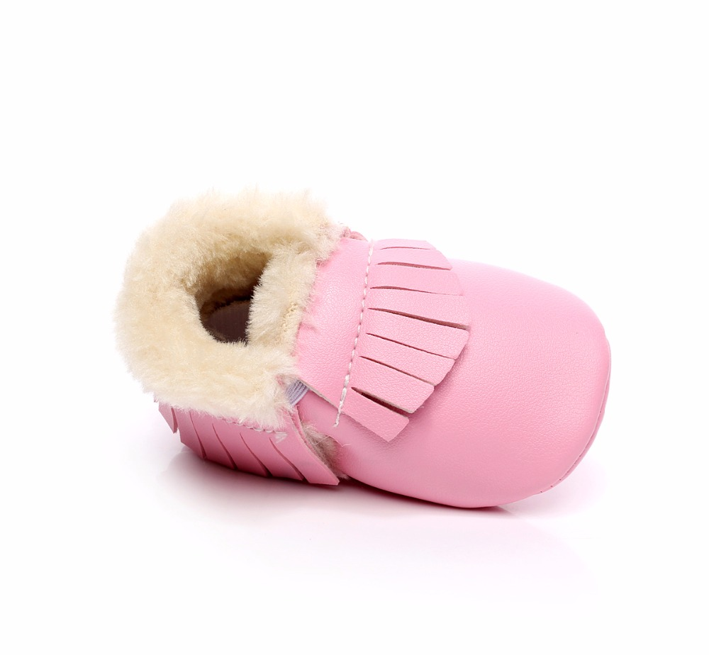 Hot Sale New Winter Warm Baby Boots PU Leather Toddler Moccasins Shoes With Fur First Walker Infant Tassel Baby Shoes