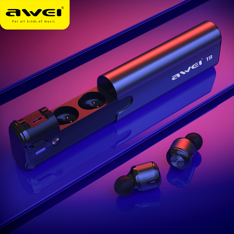 AWEI T8 TWS Bluetooth Earphone True Wireless Earbuds Headphones Dual Mic Headset Stereo Sound With Power Bank For iPhone SamsungAWEI T8 TWS Bluetooth Earphone True Wireless Earbuds Headphones Dual Mic Headset Stereo Sound With Power Bank For iPhone Samsung