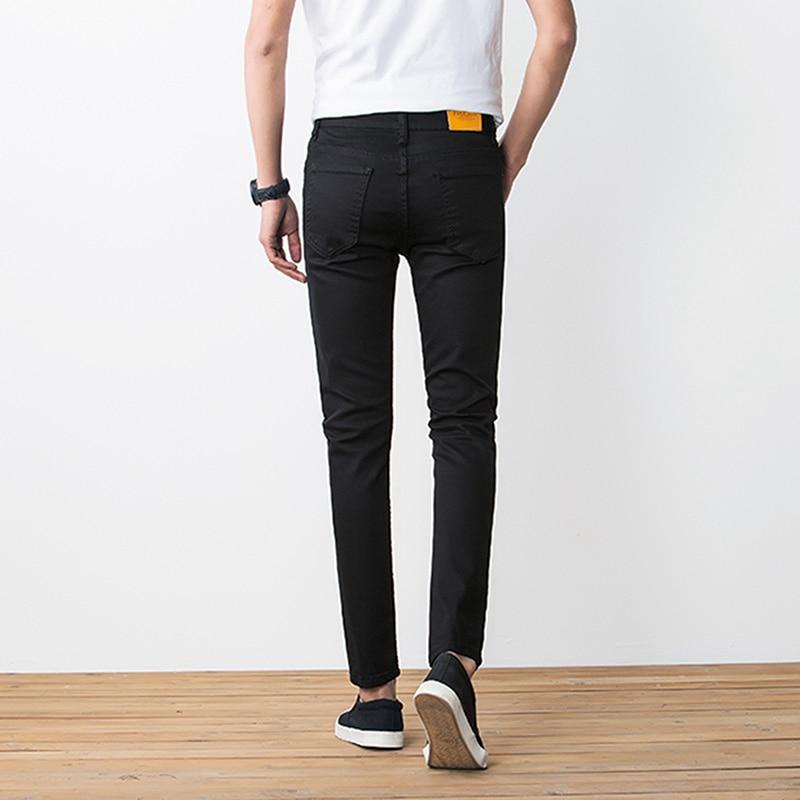 BROKEN HOLE Pant 2017 Skinny New Mænds Bukser Soild Black Slim Man - Herretøj - Foto 2